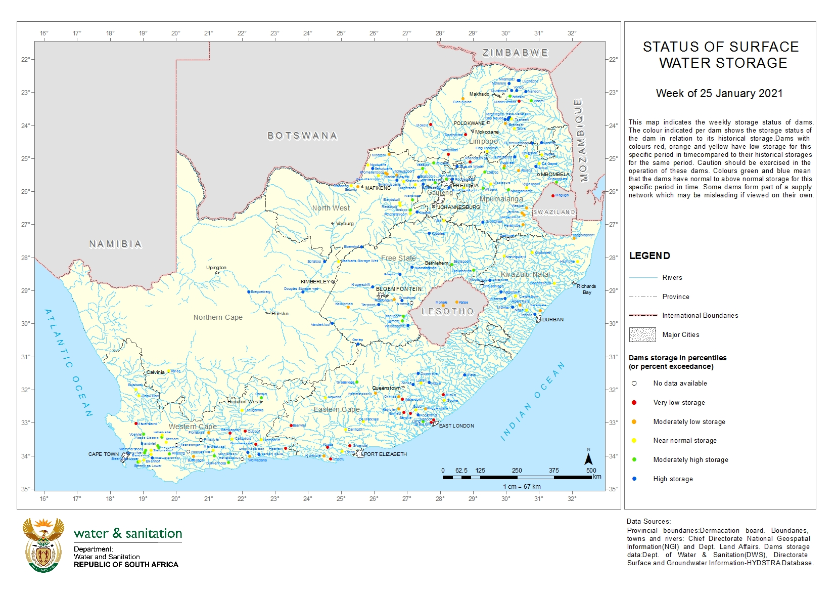 South Africa Water Management Areas - Dams and River Systems Maps 1